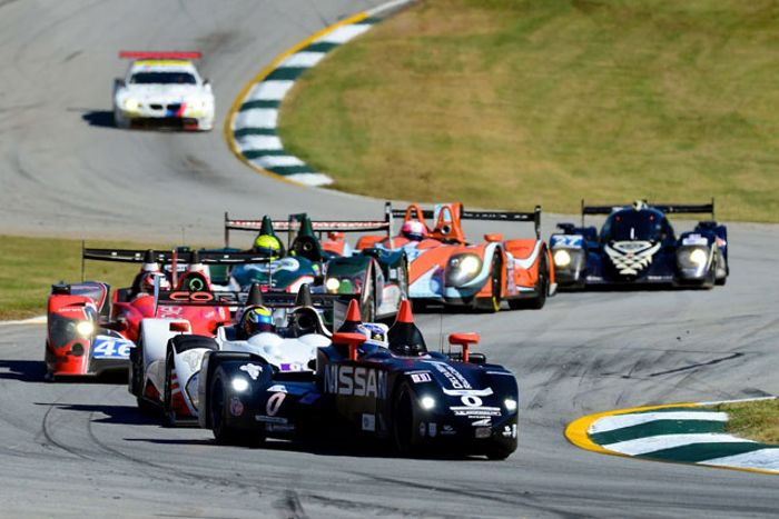 The Nissan DeltaWing battling the LMP2s during the Petit Le Mans
