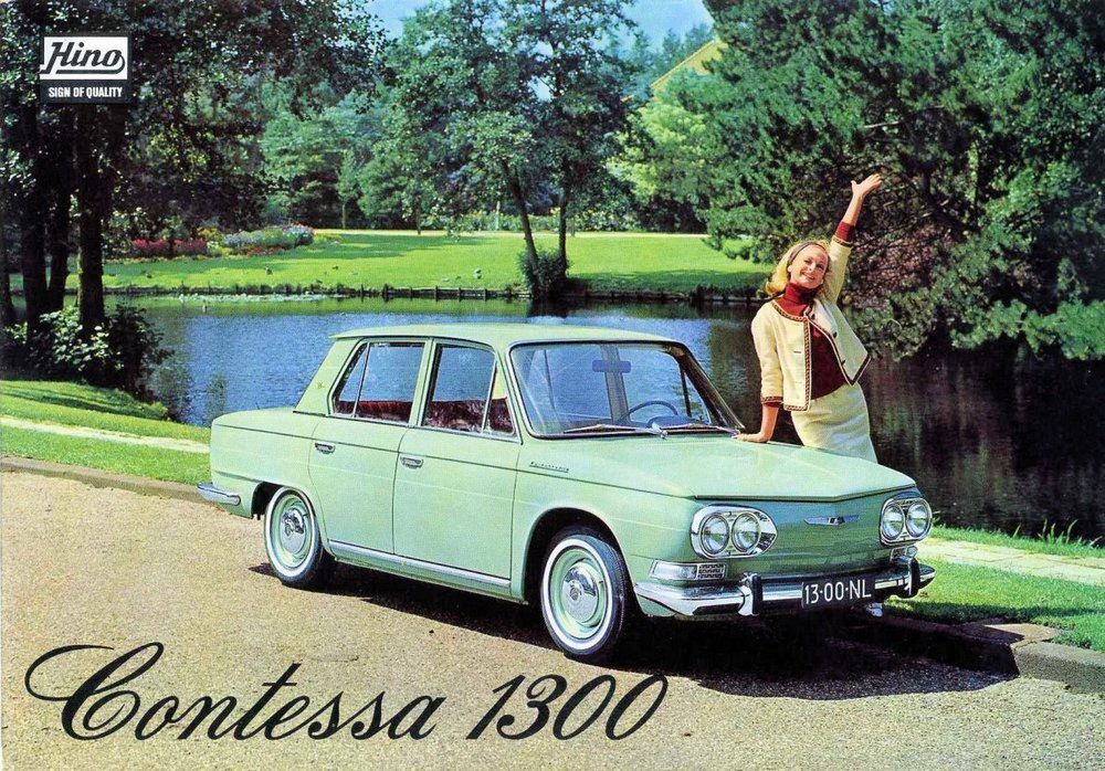 A Dutch advertisement for the glorious Hino Contessa 1300.