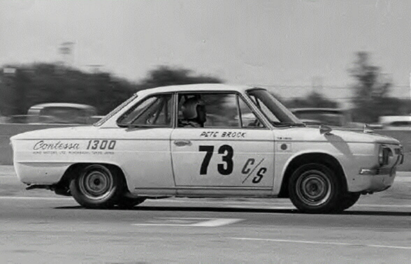 Pete Brock's winning Contessa 1300 Coupé at Riverside, 1966.