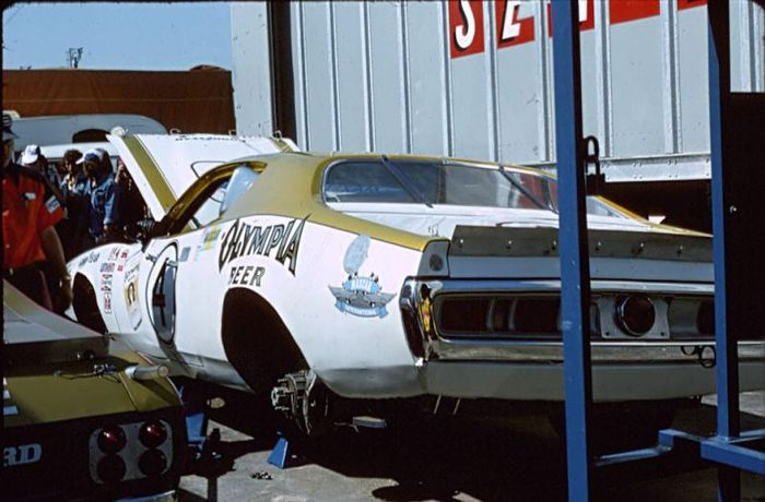 The Charger being prepared for its ordeal alongside its compatriot, a 1975 Ford Torino.