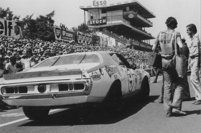 The burly brute making its way to the grid, Le Mans 1976.