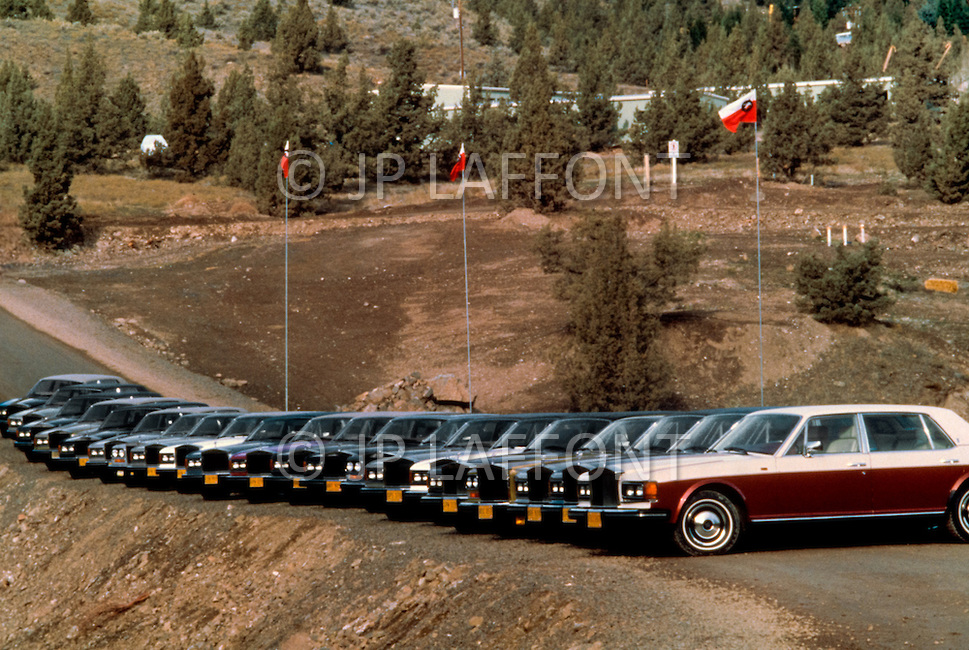 A sample of the Bhagwan's personal fleet of Rolls-Royces. He owned as many as 94 of them, making his collection the largest in the world at the time.