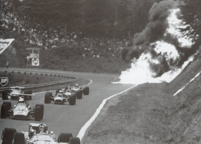 As predicted by John Surtees, the RA302 immediately caught fire.