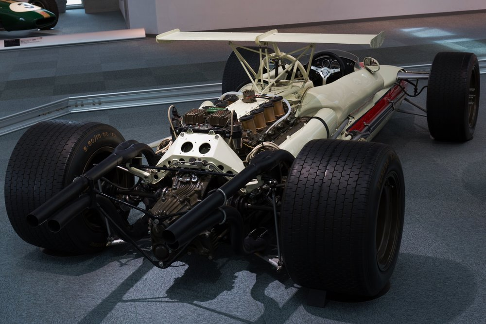 The second, unraced RA302 still exists in Honda's museum. Note the quad-pipe exhaust arrangement.