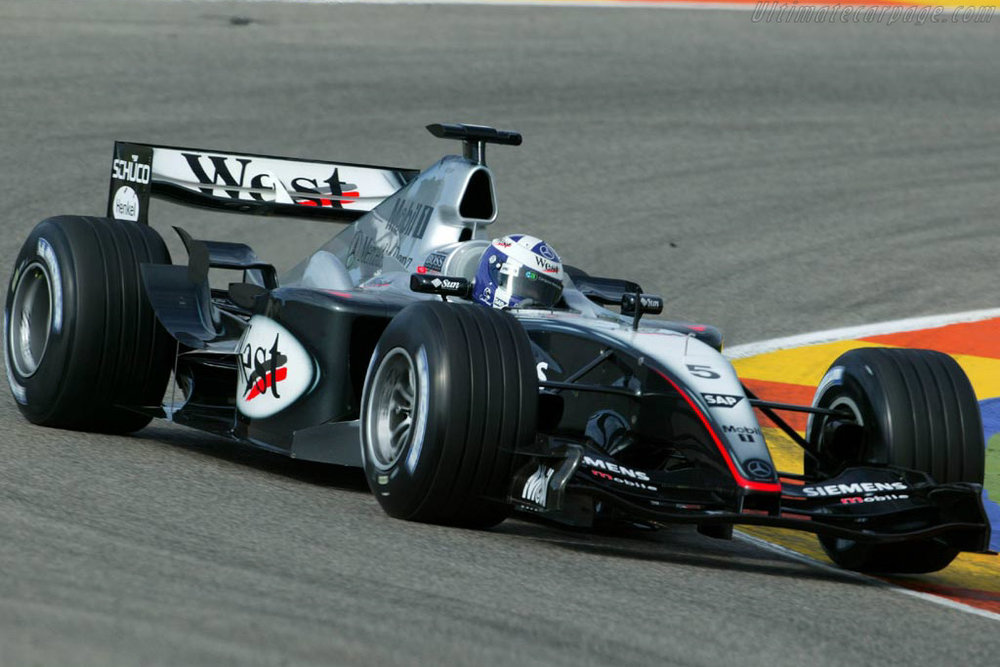 Coulthard driving the MP4-19 that was developed from the doomed MP4-18 project