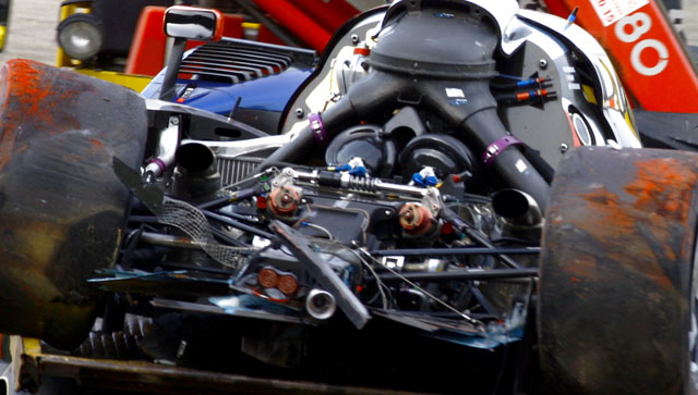 Engine details of the Peugeot HDi 3.7L twin turbo V8 following a crash at Spa in 2011.
