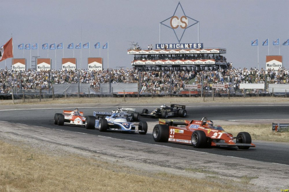 Villeneuve leading Laffite, Watson, Reutemann and De Angelis, Jarama 1981.