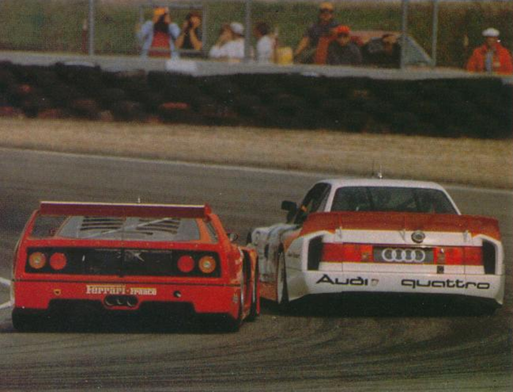 The 90 battling the Ferrari F40 LM, Laguna Seca 1989.