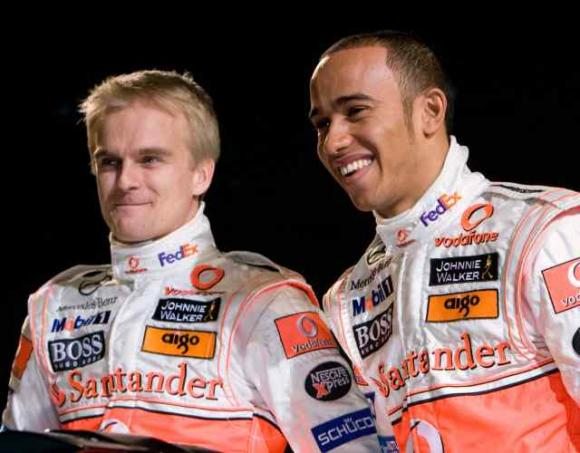 Heikki and Lewis at the launch of the MP4-23 at Stuttgart