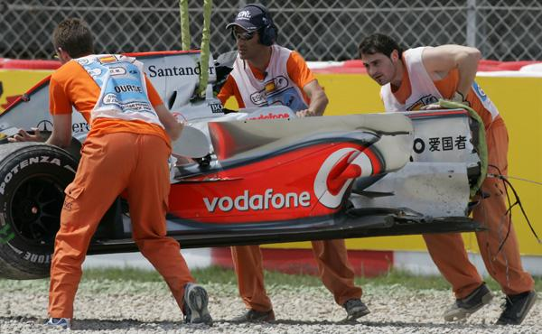 The front end of Kovalainen's McLaren completely destroyed after his hard shunt at Catalunya
