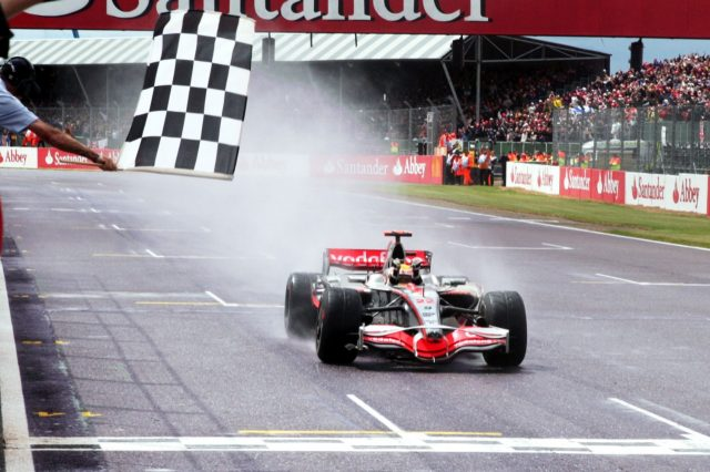 Hamilton winning his first ever race on home soil