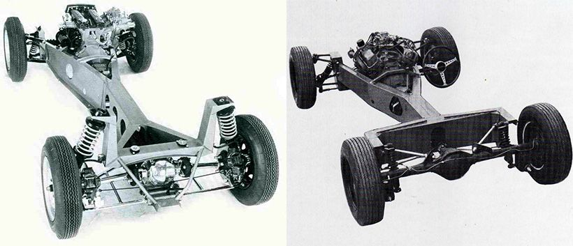 The Lotus Elan (left) and Bolwell Nagari backbone chaasis