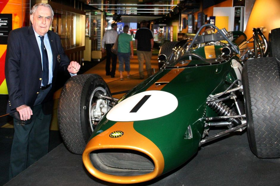 Sir Jack Brabham with the BT19 at the National Sports Museum at the Melbourne Cricket Ground in 2010