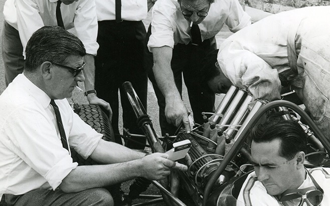 Phil Irving with Jack Brabham at the Tasman Series round at Sandown, february 1966