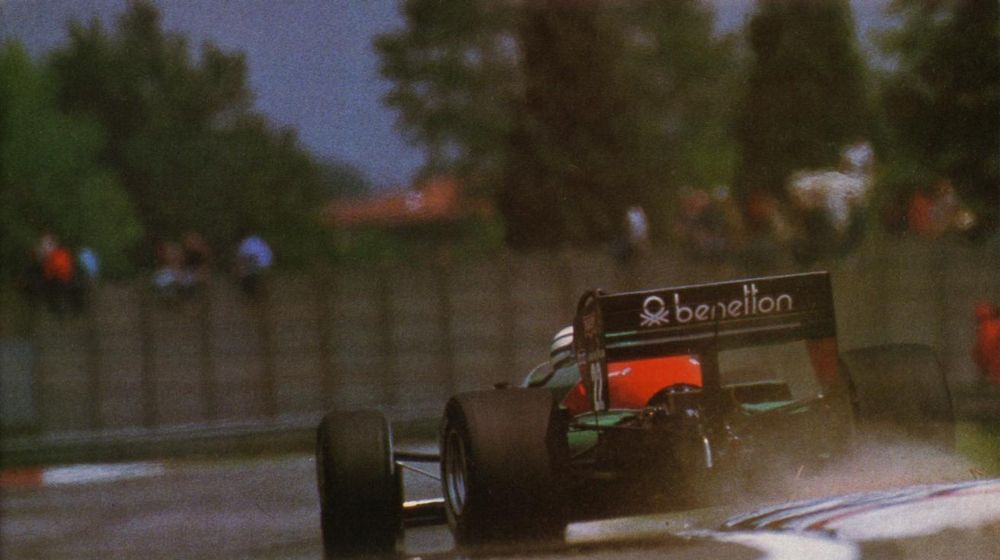 Ricardo Patrese stepping out, 1985 San Marino Grand Pri