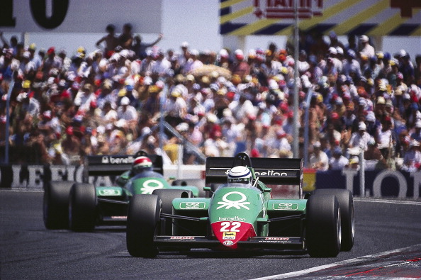 Patrese leading Cheever, 1985 French Grand Prix.