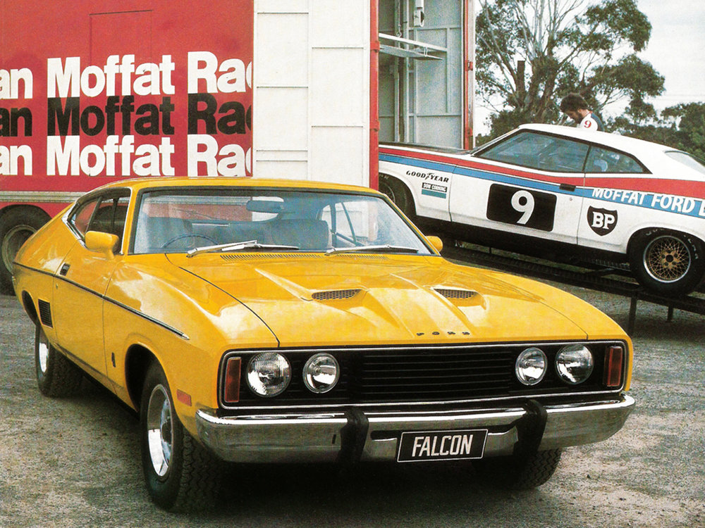 Promotional material for the XC Ford Falcon Hardtop. The race car's XB-body has been cleverly hidden from view