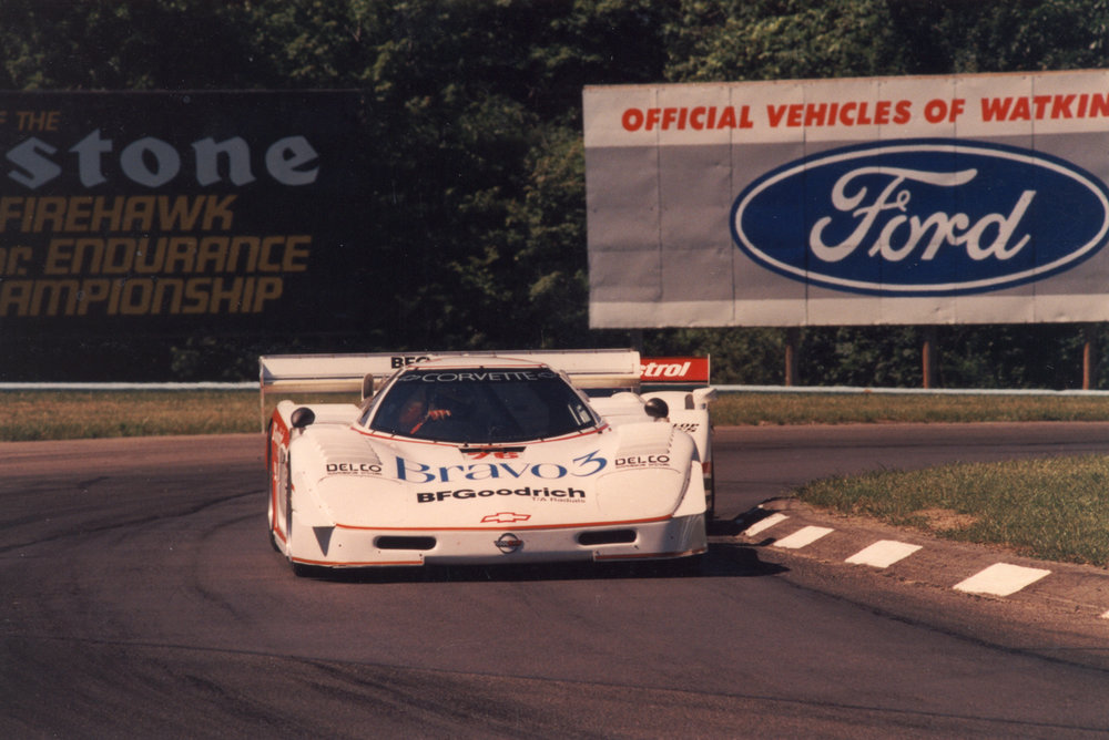 Peerless Racing Corvette GTP battling a Jaguar XJR-9, 1988.