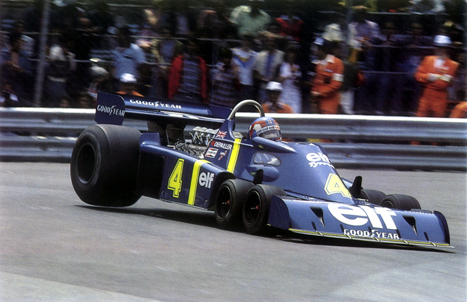 The dramatic Tyrrell P34 introduced the concept of six-wheeled single seaters.