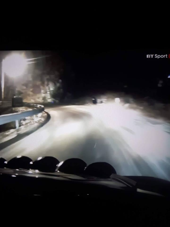 Paddon's onboard view seconds before the crash (the fan is in black shirt right near the center of the photo)