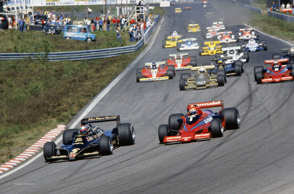 Start of the 1978 Swedish Grand Prix. Niki Lauda immediately pounces on Mario Andretti.