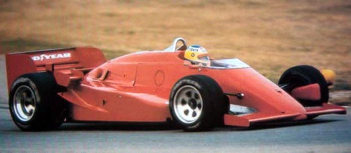 Ferrari F1-driver Michele Alboreto (ITA) testing a March 85G Indycar at Ferrari's Fiorano test track.