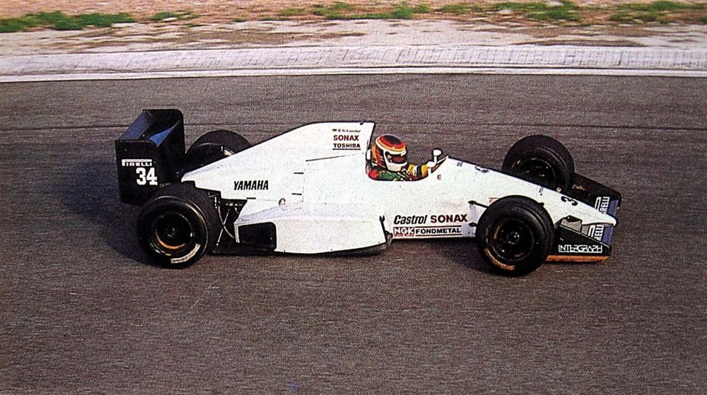 Bernd Schneider driving the doomed sponsor-less Zakspeed 891B, Pre-Season Test, Estoril, Portugal