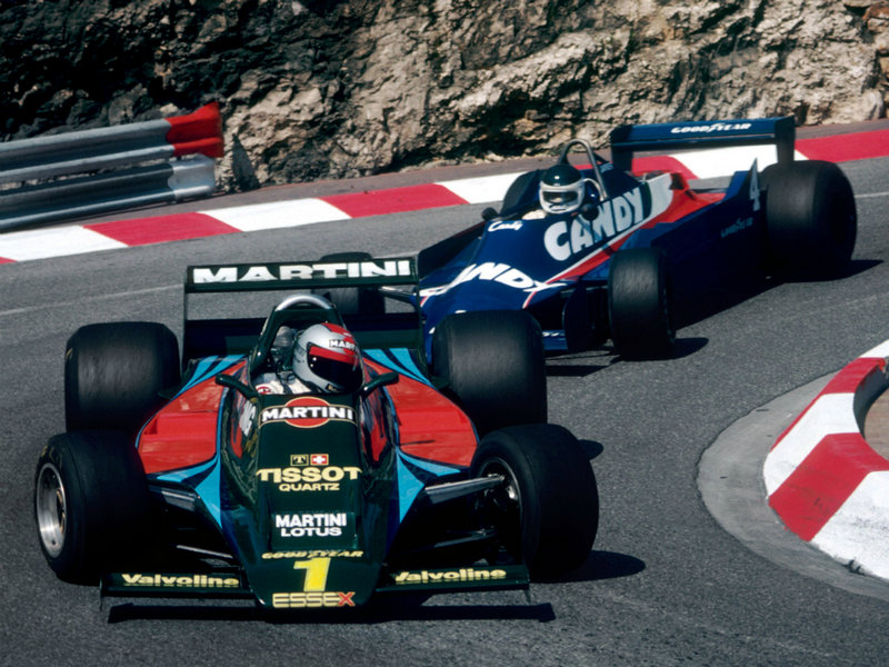 Mario Andretti being chased by Jean-Pierre Jarier, 1979 Monaco Grand Prix.