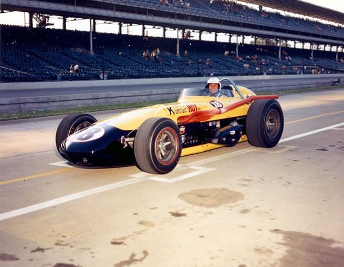 The big Offenhauser roadster had dominated Indycar racing for over 30 years when Lotus-Ford entered the scene. Here is Arnie Knepper in his Kurtis Offenhauser, one of four still running at Indianapolis in 1965.