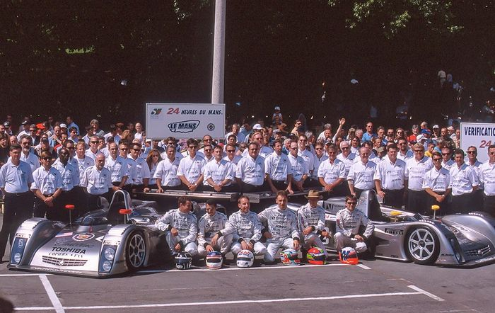 Cadillac's Le Mans team. From left to right: Butch Leitzinger, Frank Lagorce, Andy Wallace, Max Angelelli, Eric van de Poele, Wayne Taylor.