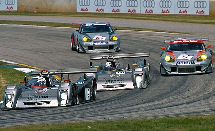 Andy Wallace and Wayne Taylor trailing each other on their way to a decent finish, Petit Le Mans 2000.