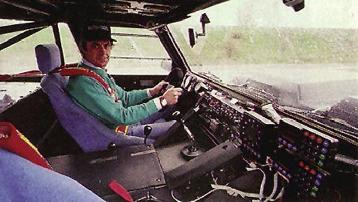 Sandro Munari on board the LM002 Rally.