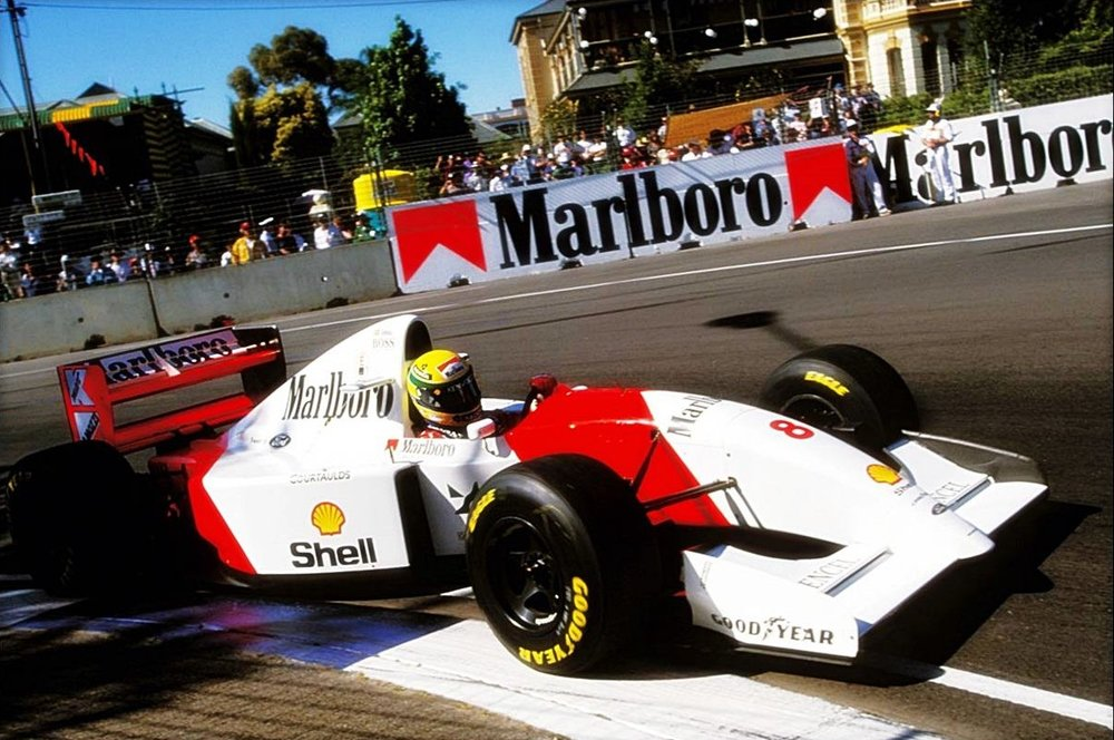 Ayrton Senna going round the hairpin, Adelaide 1993.