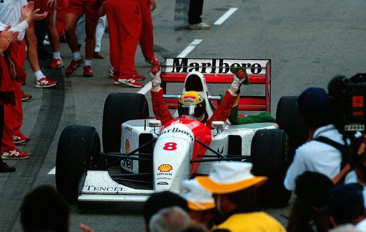 Ayrton Senna celebrating his final win, Adelaide 1993.