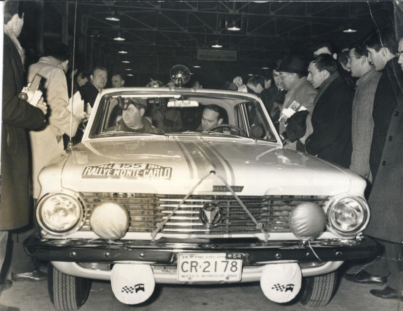 Gene Henderson and Scott Harvey in their Plymouth Valiant, 1964 Rallye Monte Carlo.