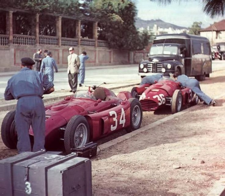 The D50's of Villoresi and Ascari lying in wait, 1954 Spanish Grand Prix, Pedralbes.