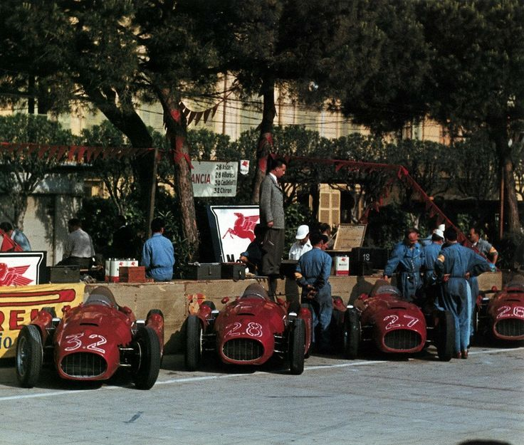 Scuderia Lancia's four car attack force, 1955 Monaco Grand Prix.