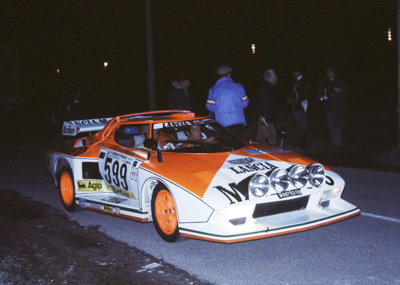 Raffaele Pinto and Arnaldo Bernacchini on a night stage, 1976 Giro Automobilistico d'Italia.