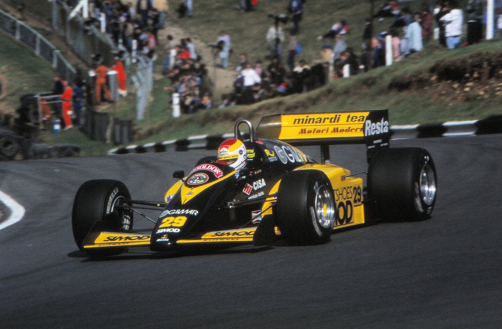 Martini rounding Druids corner, Brands Hatch 1985.