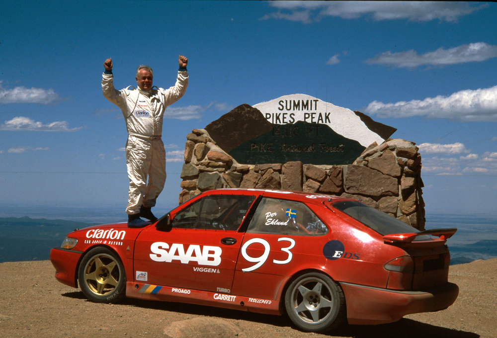 Per Eklund celebrating his record-breaking win, Pikes Peak 2000.