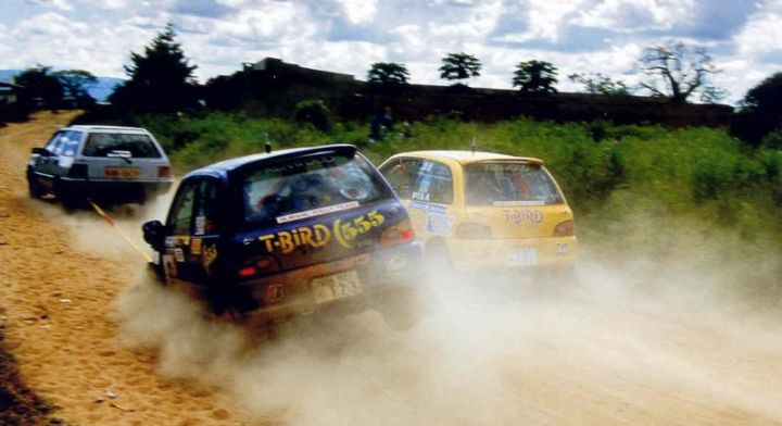 Patrick Nijru joining Colin McRae as he is violently towed to safety.