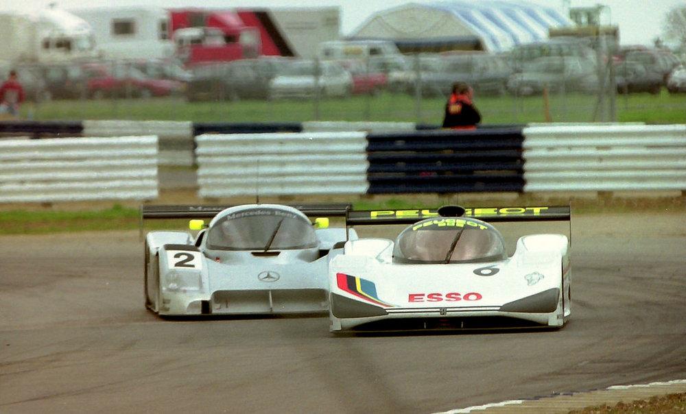 Wendlinger/Schumacher fighting Rosberg/Dalmas, Silverstone 1991.