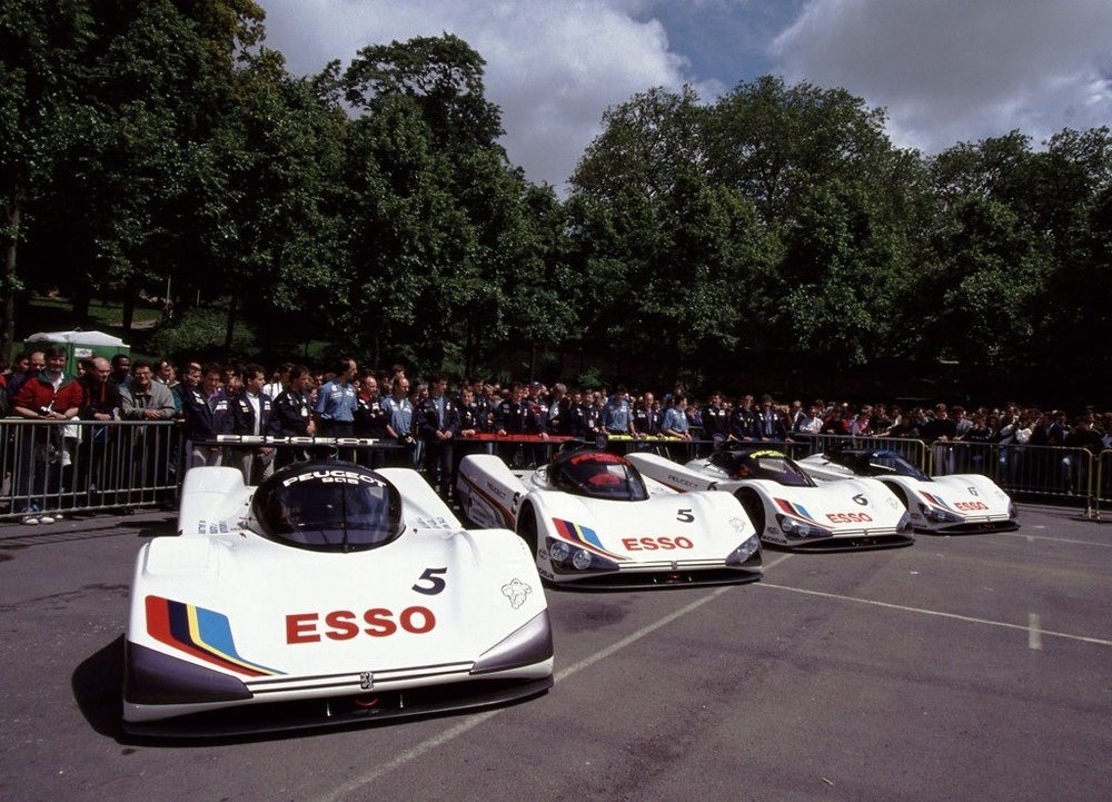 The race cars and T-cars for the 1991 24 Hours of Le Mans.