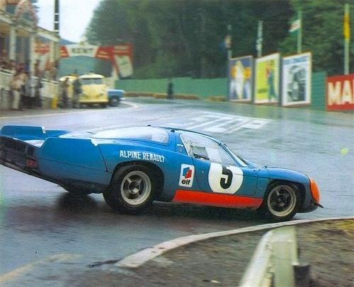 André de Cortanze/Jean Vinatier sliping through La Source hairpin, Spa Francorchamps 1969.
