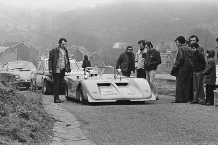 Jean-Louis Haxhe waiting at the start of the Marche hillclimb, 1972.