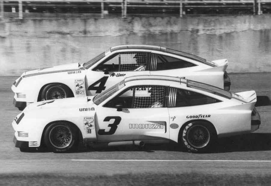 Moffat in the #3 Monza alongside Al Unser in the #4 at Daytona, 1975