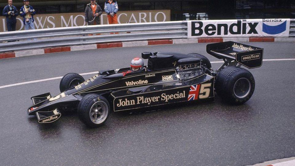 Mario Andretti in the groundbreaking Lotus 78, 1977 Monaco Grand Prix.