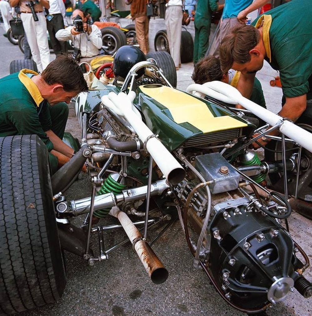Clark in the pits at Monza.