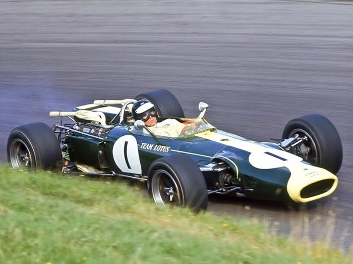 Jim Clark and his smoking 43 in the closing stages of the race.