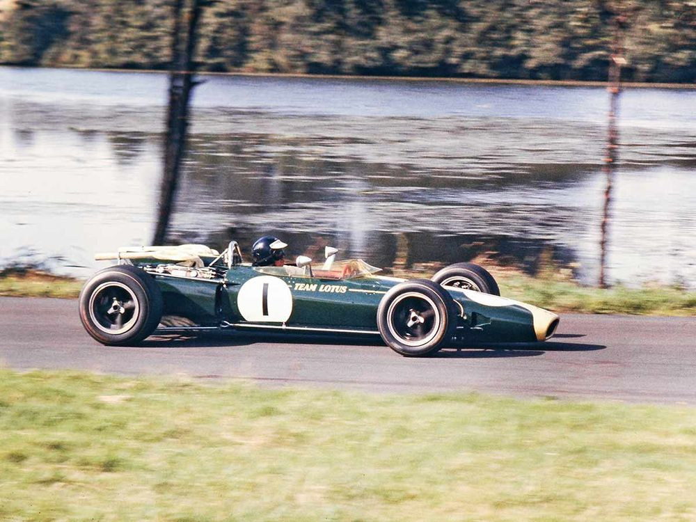 Jim Clark at the International Gold Cup, Oulton Park 1966.